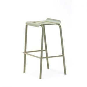 Set 4 scaune de bar pentru gradina Ezeis Alicante, verde masliniu