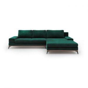 Canapea extensibila cu husa de catifea Windsor & Co Sofas Astre, pe partea dreapta, verde sticla