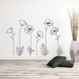 Set autocolante pentru perete Ambiance Poppies