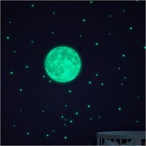 Set autocolante fosforescente de perete Ambiance Moon Small Stars