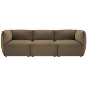 Canapea modulara cu 3 locuri Vivonita Velvet Cube maro - gri