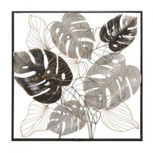 Decoratiune metalica pentru perete Mauro Ferretti Leaf, 80,5x80,5cm