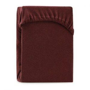 Cearsaf elastic pentru pat dublu AmeliaHome Ruby Brown, 180-200 x 200 cm, maro