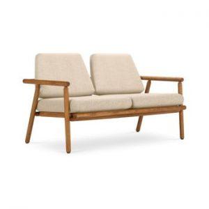 Canapea cu 2 locuri pentru exterior, constructie lemn masiv de salcam Calme Jardin Capri Premium, bej