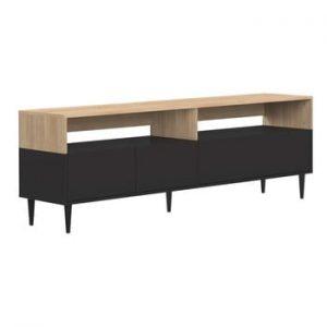 Masa pentru TV cu detalii din lemn de stejar TemaHome Horizon, negru
