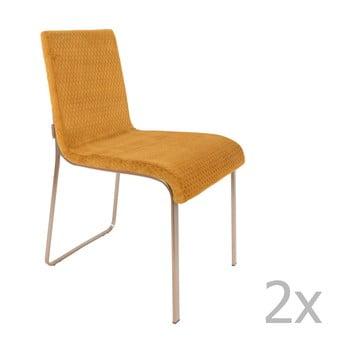 Set 2 scaune Dutchbone Fiore, galben