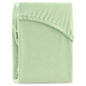 Cearsaf elastic pentru pat dublu AmeliaHome Ruby Light Green, 220-240 x 220 cm, verde deschis