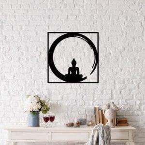 Decoratiune metalica de perete Buddha, 50 x 50 cm, negru