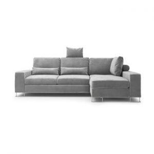 Canapea extensibila cu invelis de catifea Windsor & Co Sofas Diane, pe partea dreapta, gri