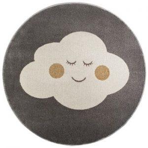 Covor rotund KICOTI Cloud, ø 80 cm, gri-alb