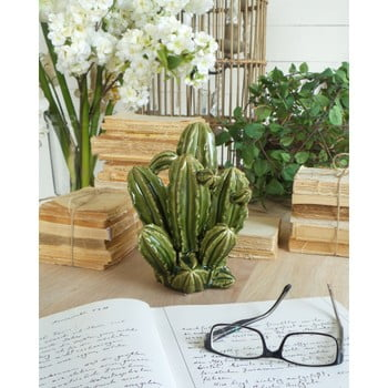 Decoratiune din ceramica Orchidea Milano Cactus, inaltime 23 cm, verde