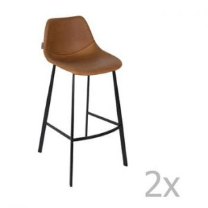 Set 2 scaune bar Dutchbone Franky, inaltime 106 cm, maro