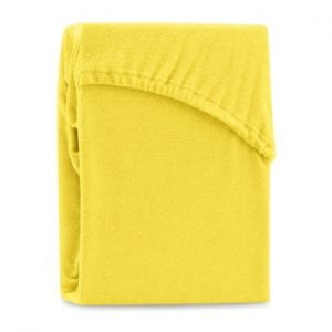Cearsaf elastic pentru pat dublu AmeliaHome Ruby Yellow, 180-200 x 200 cm, galben