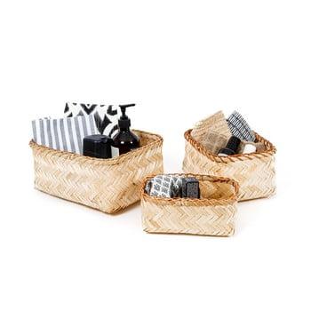 Set 3 cosulete de depozitare din bambus Compactor Natural Bamboo