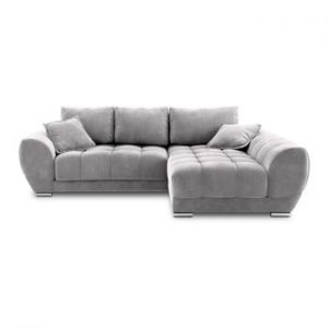 Canapea extensibila cu invelis de catifea Windsor & Co Sofas Nuage, pe partea dreapta, gri deschis