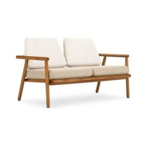 Canapea cu 2 locuri pentru exterior, constructie lemn masiv de salcam Calme Jardin Capri Premium, alb - bej