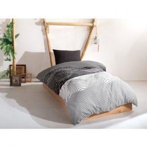 Set lenjerie si cearsaf din bumbac pentru pat single Leslie, 160 x 220 cm