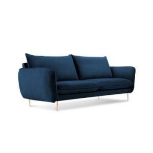 Canapea cu tapiterie din catifea Cosmopolitan Design Florence, albastru inchis