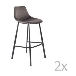 Set 2 scaune bar cu tapiterie catifelata Dutchbone, inaltime 106 cm, gri