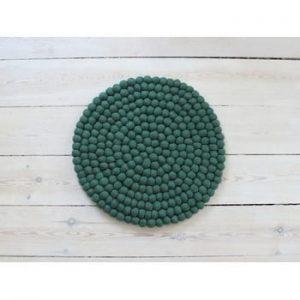 Perna pentru scaun, cu bile din lana Wooldot Ball Chair Pad, ⌀ 39 cm, verde inchis