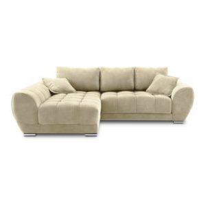 Canapea extensibila cu invelis de catifea Windsor & Co Sofas Nuage, pe partea stanga, bej