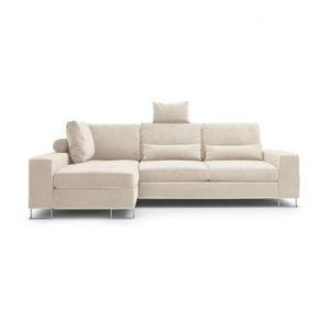 Canapea extensibila cu invelis de catifea Windsor & Co Sofas Diane, pe partea stanga, bej