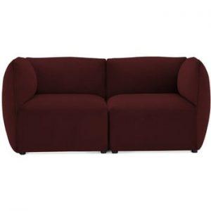 Canapea modulara cu 2 locuri Vivonita Velvet Cube, visiniu