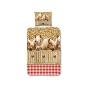 Lenjerie de pat pentru copii Sand Horses, 135x200 cm, inchidere cu fermoar