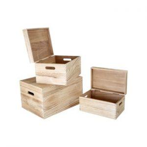 Set 3 cufere din lemn Legler Trunk
