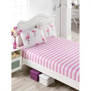 Set cearsaf si 2 fete de perna Flamingos, 160 x 200 cm, roz