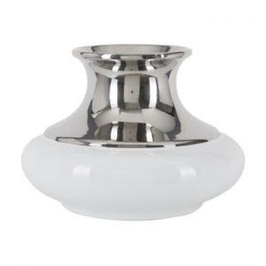 Vaza din ceramica Mauro Ferretti Convex A, alb-argintiu