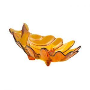 Bol din sticla reciclata Mauro Ferretti Leaf, 33x20cm, portocaliu