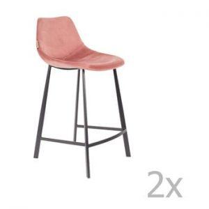 Set 2 scaune bar cu tapiterie catifelata Dutchbone, inaltime 91 cm, roz
