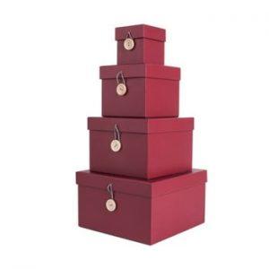 Set 4 cutii de depozitare PT LIVING Uniform, rosu