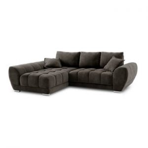 Canapea extensibila cu invelis de catifea Windsor & Co Sofas Nuage, pe partea stanga, maro inchis