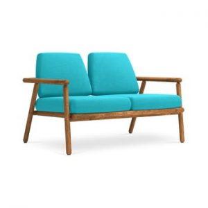Canapea cu 2 locuri pentru exterior, constructie lemn masiv de salcam Calme Jardin Capri, turcoaz