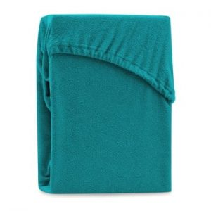 Cearsaf elastic pentru pat dublu AmeliaHome Ruby Turquoise, 180-200 x 200 cm, turcoaz