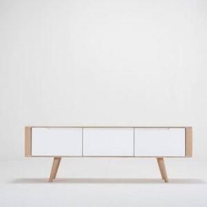 Comoda TV din lemn de stejar Ena, 135 x 55 x 45 cm