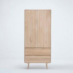 Dulap din lemn masiv de stejar cu 2 sertare Gazzda Fawn