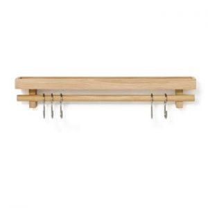 Polita din lemn de stejar cu carlige pentru ustensilele de bucatarie Wireworks