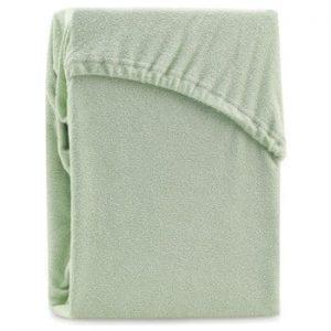 Cearsaf elastic pentru pat dublu AmeliaHome Ruby Olive Green, 180-200 x 200 cm, verde