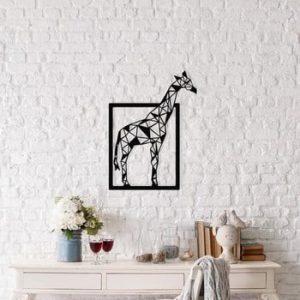 Decoratiune metalica de perete Giraffe, 45 x 60 cm, negru