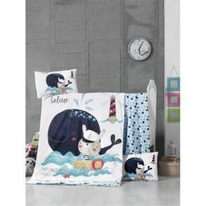 Lenjerie de pat din bumbac pentru copii On The Sea, 100 x 150 cm