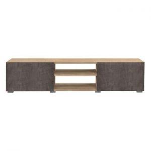 Masa TV cu aspect de lemn de stejar si usa cu aspect de beton TemaHome Podium