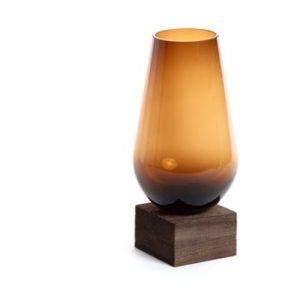 Vaza din sticla La Forma Salong, adancime 30 cm, maro