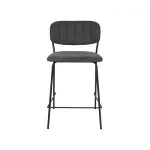Set 2 scaune de bar cu picioare negre White Label Jolien, inaltime 89 cm, gri inchis