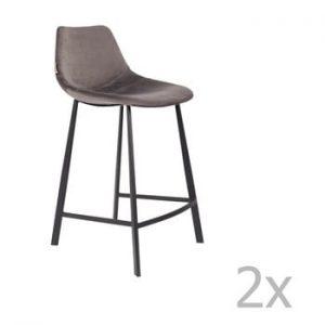 Set 2 scaune bar cu tapiterie catifelata Dutchbone, inaltime 91 cm, gri