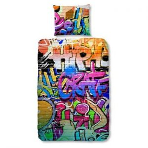 Lenjerie de pat din bumbac pentru copii Good Morning Graffity, 140x200cm