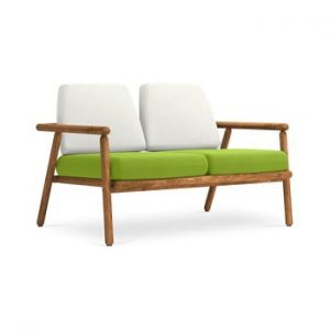 Canapea cu 2 locuri pentru exterior, constructie lemn masiv de salcam Calme Jardin Capri, gri deschis - verde deschis