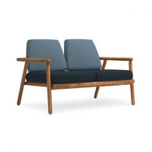 Canapea cu 2 locuri pentru exterior, constructie lemn masiv de salcam Calme Jardin Capri, albastru - albastru inchis